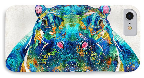 Hippopotamus Art - Happy Hippo - By Sharon Cummings IPhone Case by Sharon Cummings