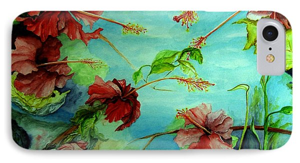 IPhone Case featuring the painting Hiroko's Hibiscus 4 by Rachel Lowry