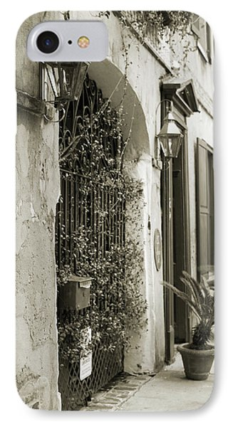 Historic Home Wrought Iron Gate Charleston Sepia IPhone Case by Dustin K Ryan