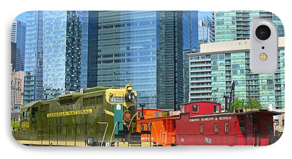 Historic Train Engine And Caboose At Roundhouse Park Toronto IPhone Case by John Malone