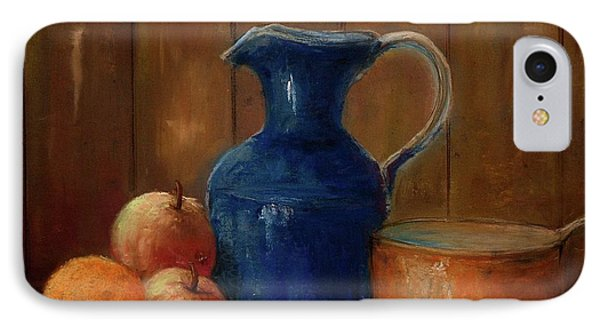 IPhone Case featuring the painting Historical Jamestown Virginia Blue Colbalt Pitcher  by Bernadette Krupa