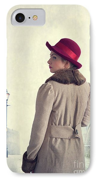 Historical Woman In An Overcoat And Red Hat IPhone Case