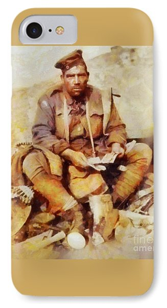 History In Color. Australian Soldier Pvt Barney Hines Wwi IPhone Case by Sarah Kirk