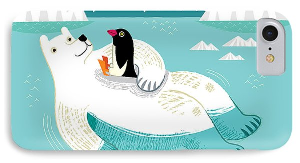 Penguin iPhone 7 Case - Hitching A Ride by Oliver Lake