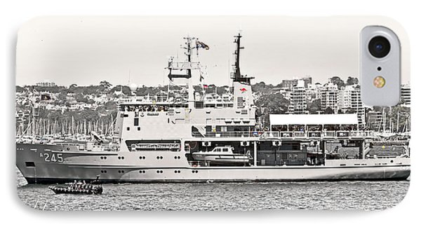 Hmas Leeuwin In Black White And Red IPhone Case