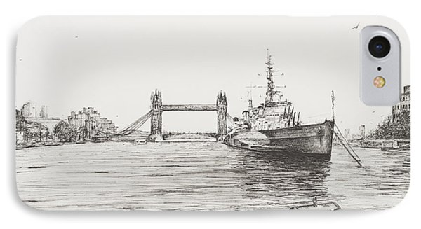 Hms Belfast On The River Thames IPhone Case by Vincent Alexander Booth