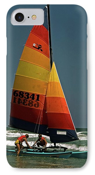 Hobie Cat In Surf IPhone Case by Sally Weigand