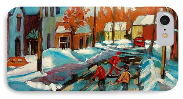 Hockey Game In Ville St Laurent Montreal Streetscenes Phone Case by Carole Spandau