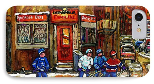 Hockey Game This Evening At Depanneur Familiale In Ville Emard Montreal Best Canadian Hockey Art IPhone Case by Carole Spandau