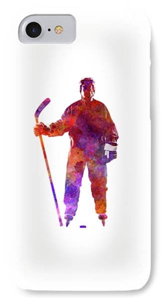 Hockey Man Player 01 In Watercolor IPhone Case