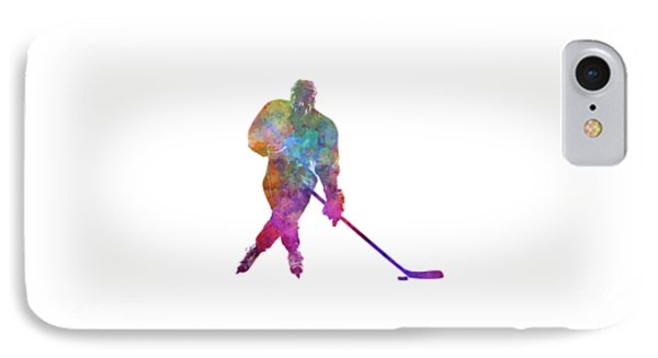 Hockey Man Player 03 In Watercolor IPhone Case by Pablo Romero