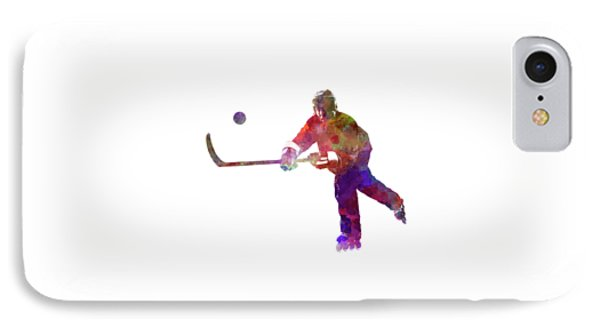 Hockey Man Player 04 In Watercolor IPhone Case by Pablo Romero