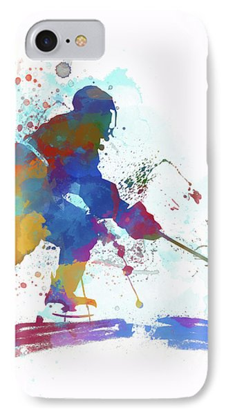 Hockey Player Paint Splatter IPhone Case by Dan Sproul