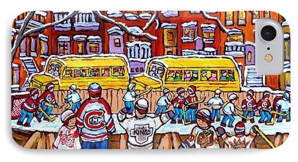 Outdoor Hockey Rink Scene Neighborhood School Buses Six Team Jerseys Canadian Art Carole Spandau IPhone Case by Carole Spandau