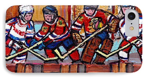 Hockey Rink Paintings New York Rangers Vs Chicago Black Hawks Original Six Hockey Art Carole Spandau IPhone Case by Carole Spandau