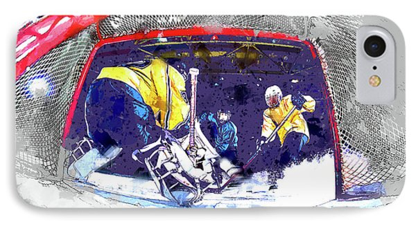 Hockey Score Attempt From The Ice Level IPhone Case by Elaine Plesser