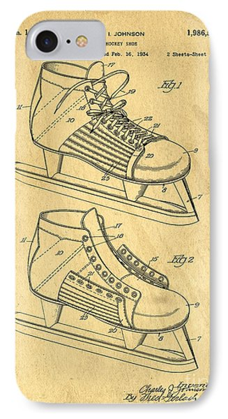 Hockey Skates Patent Art Blueprint Drawing IPhone Case by Edward Fielding