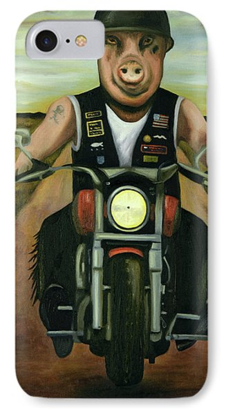 IPhone Case featuring the painting Hog Wild by Leah Saulnier The Painting Maniac