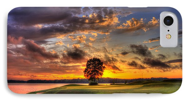 Hole In One Golf Sunset  IPhone Case by Reid Callaway