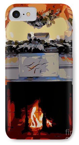 Holiday Fireplace #1 IPhone Case by Ed Weidman