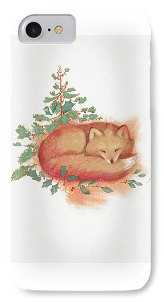 Holiday Fox IPhone Case by Tracy Herrmann
