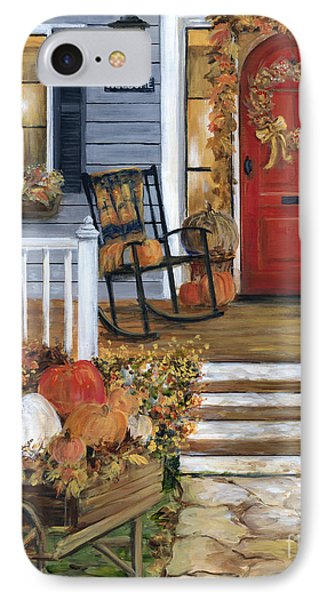 Pumpkin Porch IPhone Case by Marilyn Dunlap
