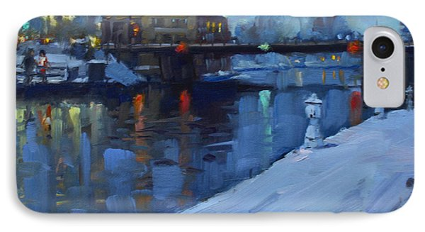 Holiday Lights In Tonawanda Canal  IPhone Case by Ylli Haruni