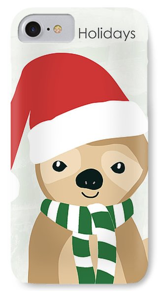 Holiday Sloth- Design By Linda Woods IPhone Case