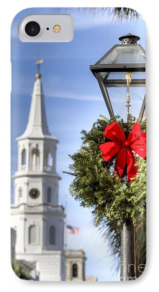 Holiday Wreath St Michaels Church Charleston Sc IPhone Case