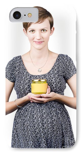 Holistic Naturopath Holding Jar Of Homemade Spread Phone Case by Jorgo Photography - Wall Art Gallery