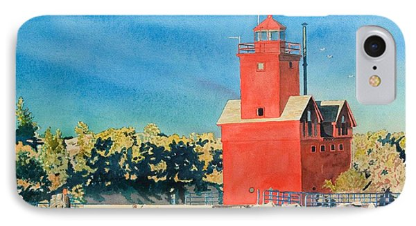 IPhone Case featuring the painting Holland Lighthouse - Big Red by LeAnne Sowa