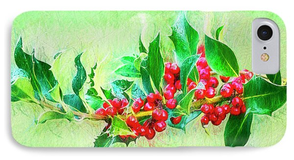 IPhone Case featuring the photograph Holly Berries Photo Art by Sharon Talson