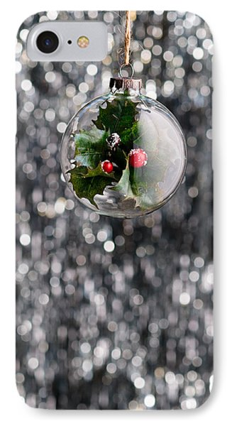 IPhone Case featuring the photograph Holly Christmas Bauble  by Ulrich Schade