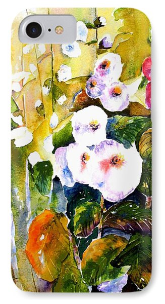 IPhone Case featuring the painting Hollyhock Garden 1 by Marti Green