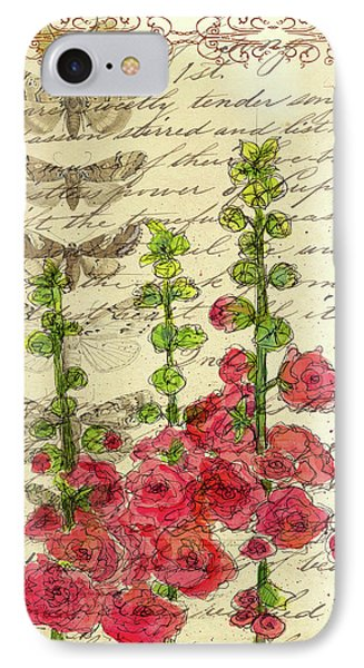IPhone Case featuring the drawing Hollyhocks And Butterflies  by Cathie Richardson