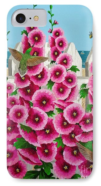 Hollyhocks And Humming Birds IPhone Case by Katherine Young-Beck