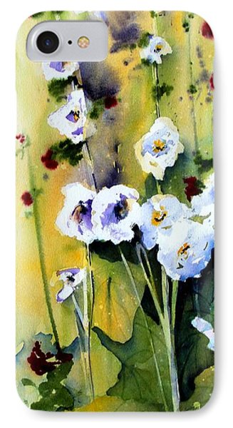 IPhone Case featuring the painting Hollyhocks by Marti Green
