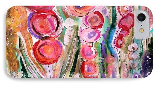 Hollyhocks Of The Garden IPhone Case by Mary Carol Williams