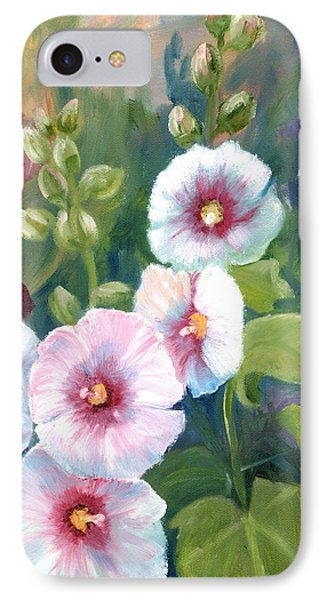 IPhone Case featuring the painting Hollyhocks by Renate Nadi Wesley