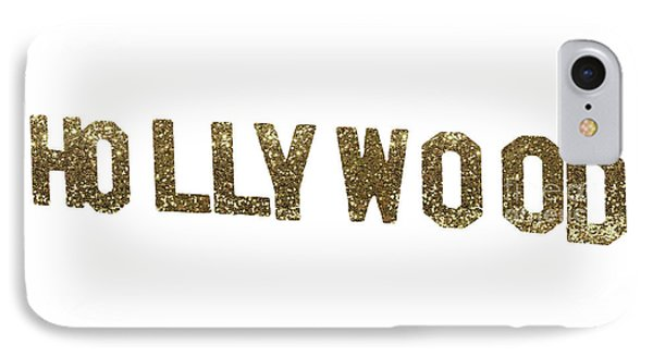 Beverly Hills iPhone 7 Case - Hollywood Gold Glitter Sign by Mindy Sommers