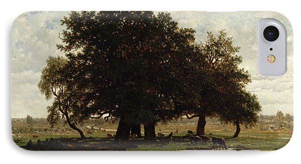 Holm Oaks IPhone Case by Pierre Etienne Theodore Rousseau