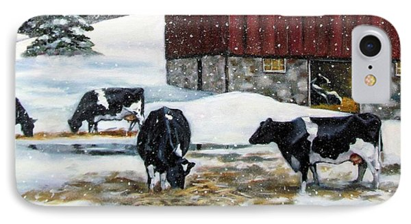 Holstein Cows On Snowy Day No. 2 IPhone Case