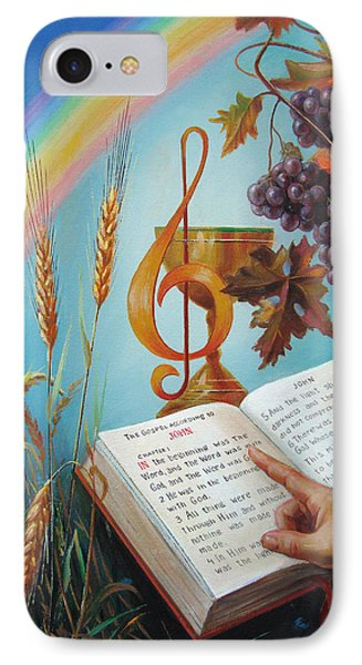 IPhone Case featuring the painting Holy Bible - The Gospel According To John by Svitozar Nenyuk