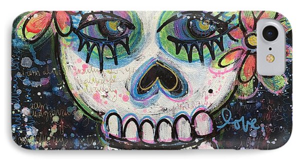 IPhone Case featuring the painting Home Is Wherever I Am With You An Abstract Skull Painting About Love by Laurie Maves ART