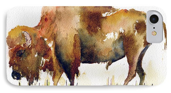 IPhone Case featuring the painting Home On The Range Buffalo by Pat Katz