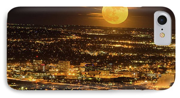 Home Sweet Hometown Bathed In The Glow Of The Super Moon  IPhone Case by Bijan Pirnia