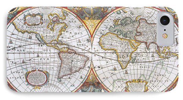Hondius World Map, 1630 Phone Case by Photo Researchers