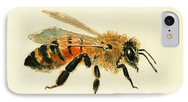 Honey Bee Painting IPhone Case by Juan  Bosco
