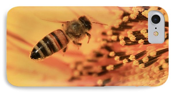 IPhone Case featuring the photograph Honeybee And Sunflower by Chris Berry