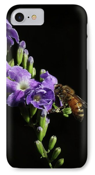 IPhone Case featuring the photograph Honeybee On Golden Dewdrop by Richard Rizzo
